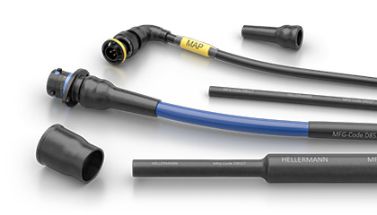HellermannTyton heat shrink boots and tubing for Souriau 8STA motorsport connectors and wire harnesses